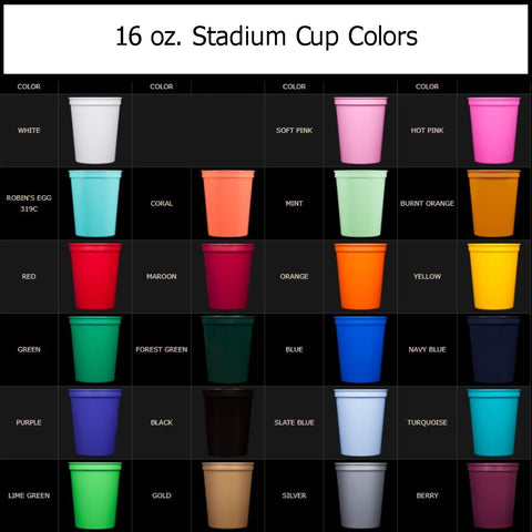 16 ounce stadium cup colors