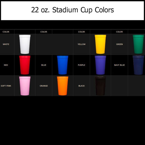 22 ounce stadium cup colors