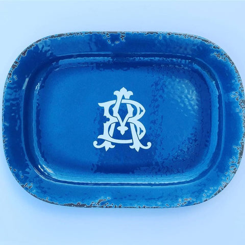 Monogram Lane chic vinyl decal on a tray.