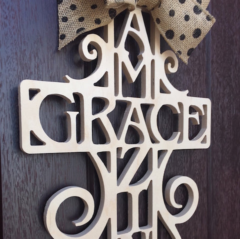 Monogram Lane Amazing Grace Cross Painted White