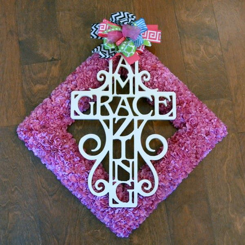 Monogram Lane Amazing Grace Cross Painted White on Pink Wreath