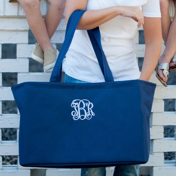 Navy Monogrammed Tote, personalized totes