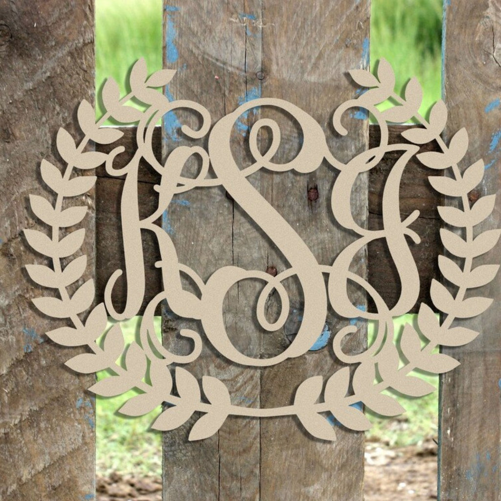 Unfinished 3-Letter Script Monogram with Laurel Wreath Border