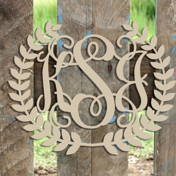 3-Letter Script Monogram with Laurel Wreath Border