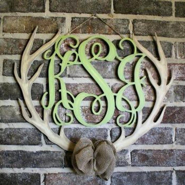 Unfinished 3-Letter Script Monogram with Antler Border