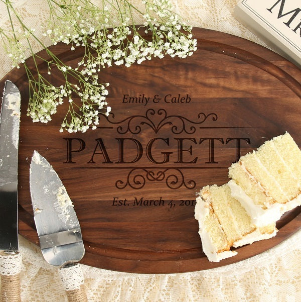 Wedding Date Oval Walnut Board