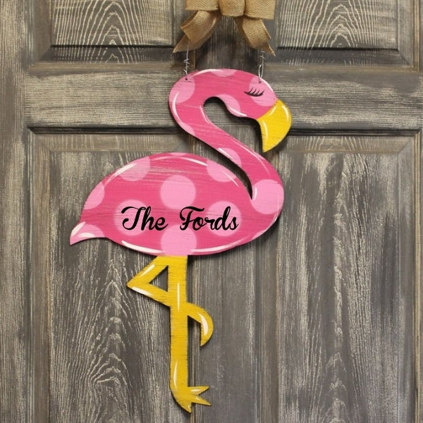 Flamingo Metal Door Hanger or Yard Stake