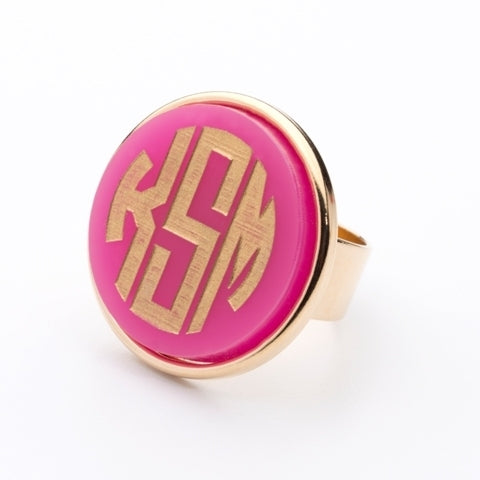 Vineyard Monogram Ring - Round