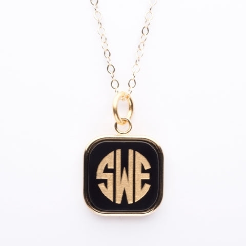 Vineyard Monogram Necklace - Square