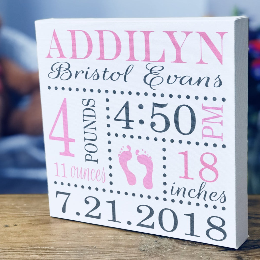 Birth announcements, Baby gift, Baby shower gifts, birth canvas