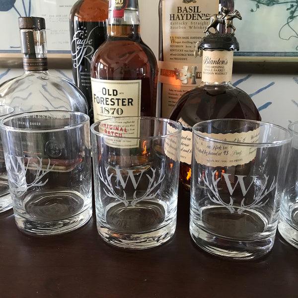 Antler Initial Double Old Fashioned Glasses