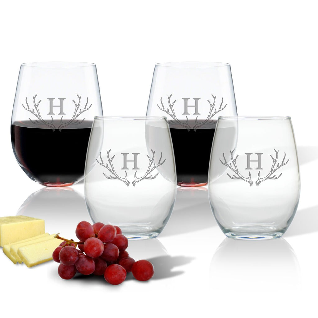 Antler Initial Stemless Wine Glasses