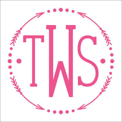 Pink Arrow Monogram Square or Round Stickers