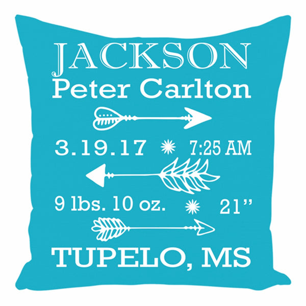 Arrows Birth Announcement Pillow