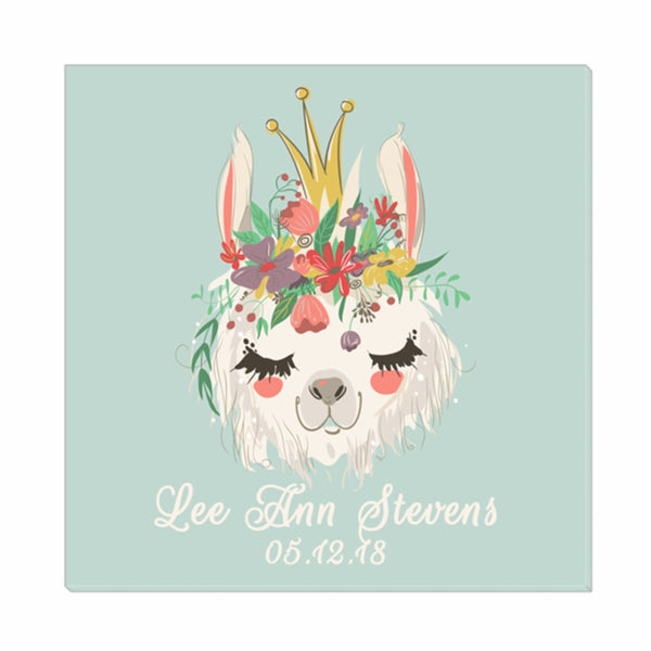 Llama Queen Birth Announcement Wall Canvas