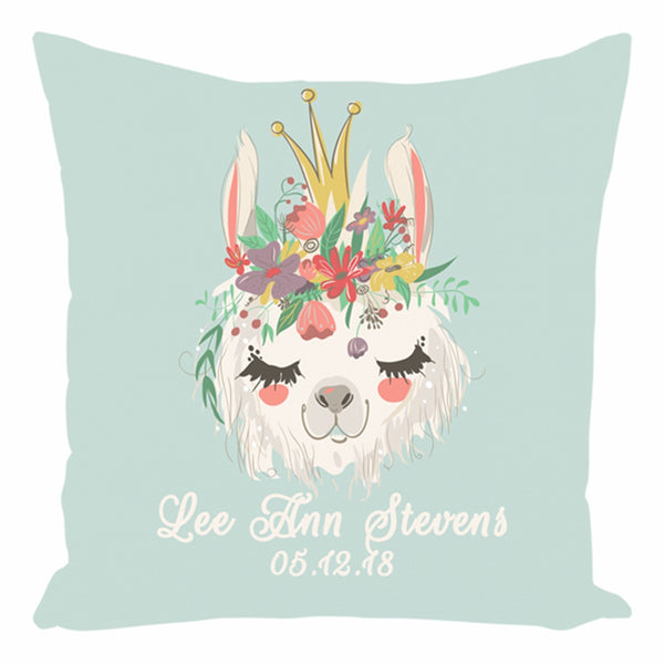Llama Queen Birth Indoor/Outdoor Pillow