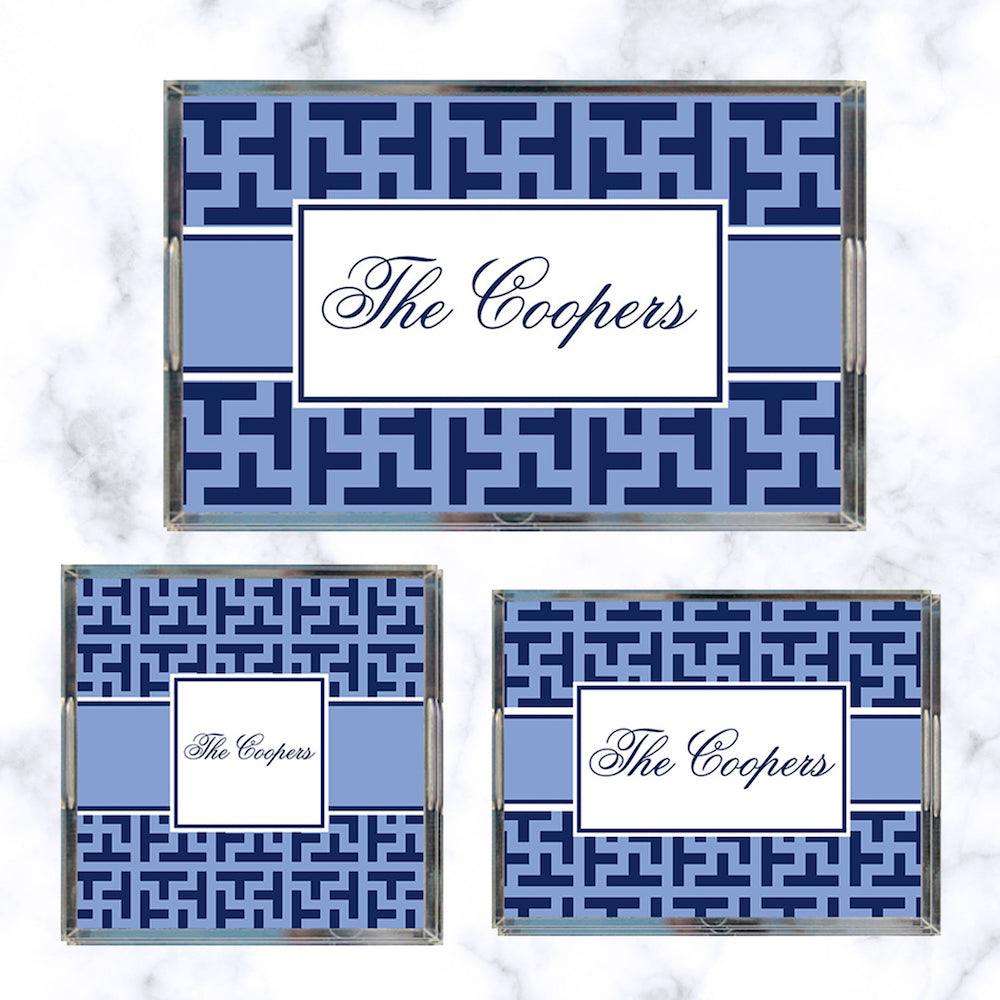 Cornflower & Navy Graphic Tile Acrylic Tray + Insert Collection