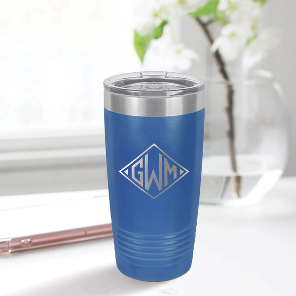 Engraved Diamond Monogram 20oz Tumbler
