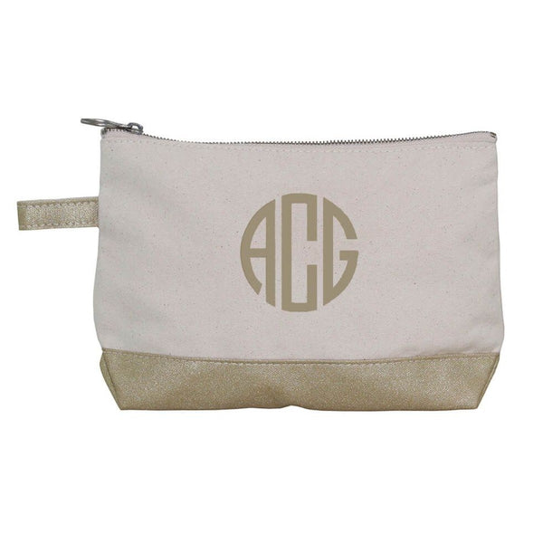Gold Metallic & Canvas Accessory Pouch