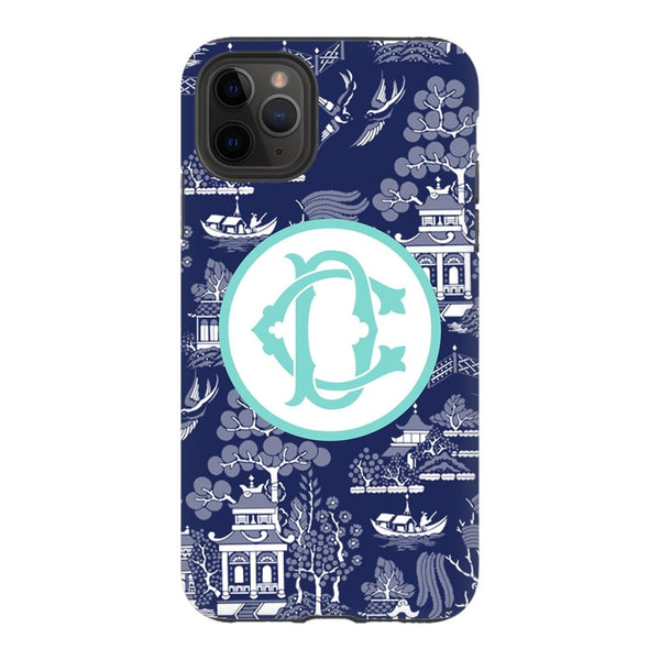 Navy Chinoiserie Phone Case - Choose Accent Color