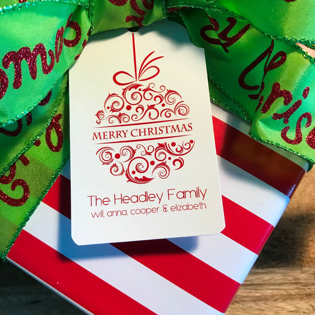 Holiday Christmas Ball Gift Tags