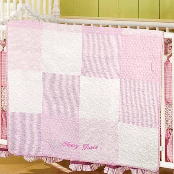 Personalized Pink Baby Quilt