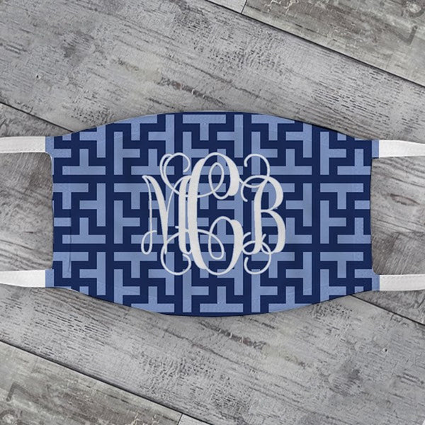 Cornflower & Navy Graphic Tile Face Mask