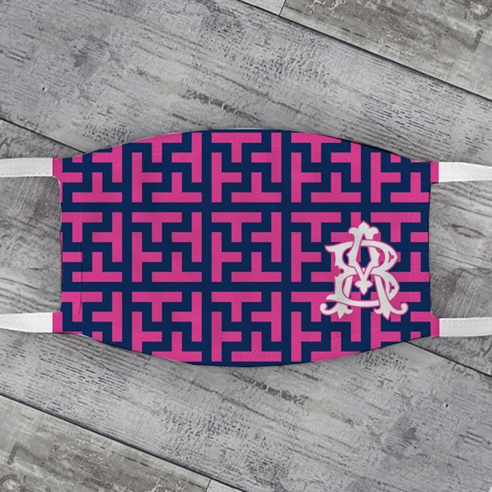 Pink & Navy Graphic Tile Face Mask