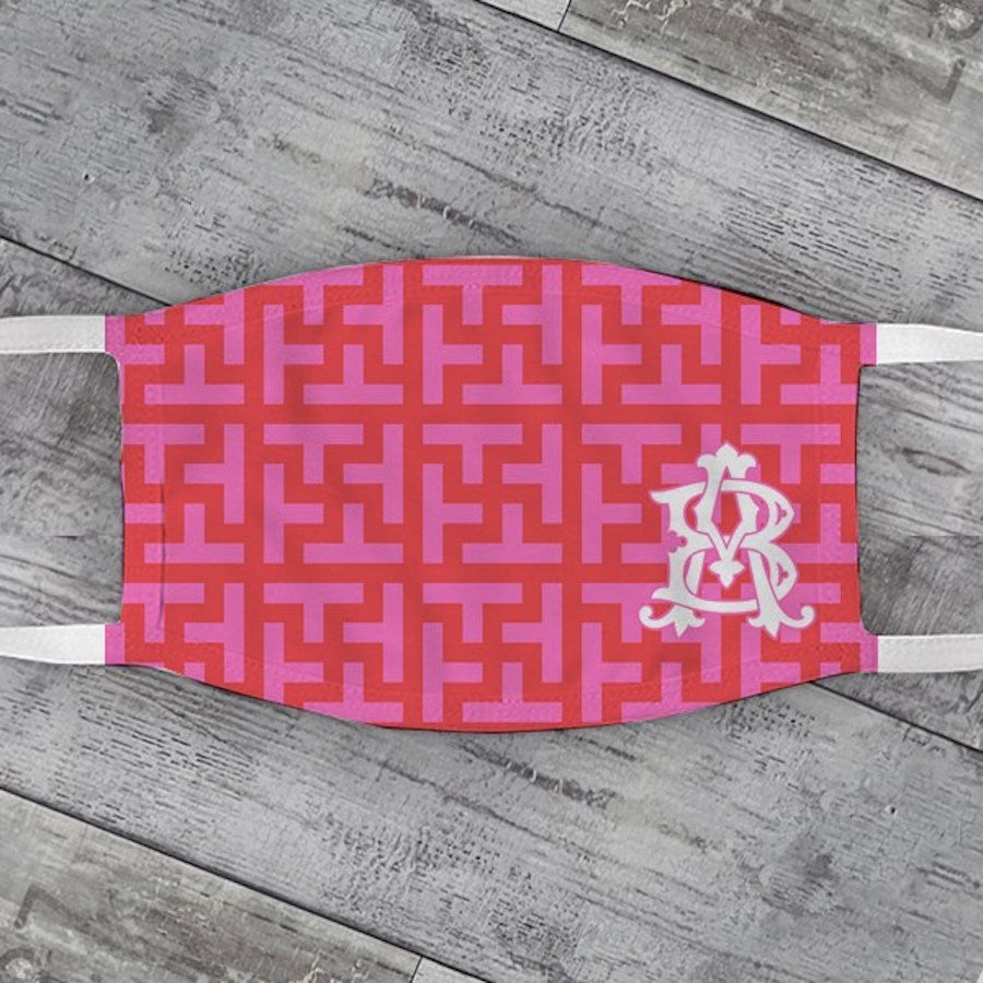 Red & Pink Graphic Tile Face Mask