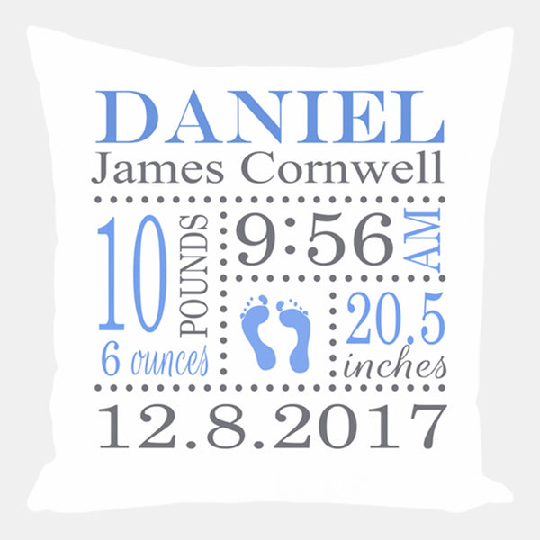 Footprints Birth Announcement Pillow