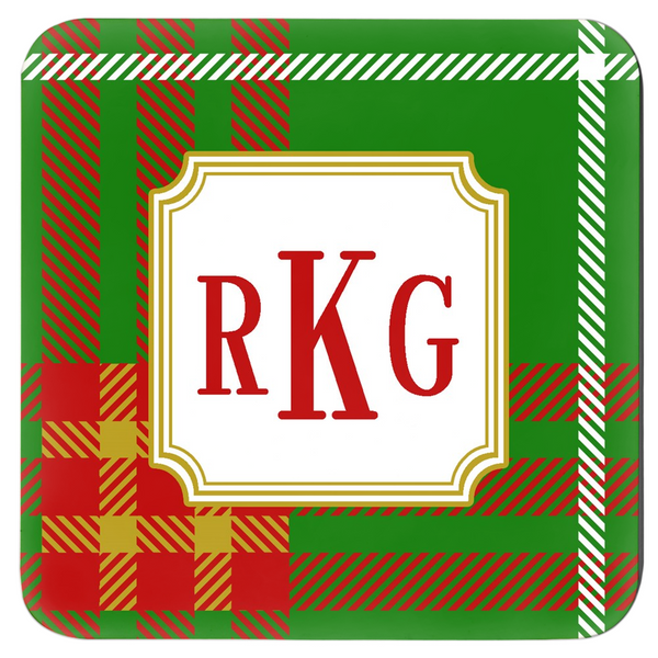 Holiday Plaid Coaster Set