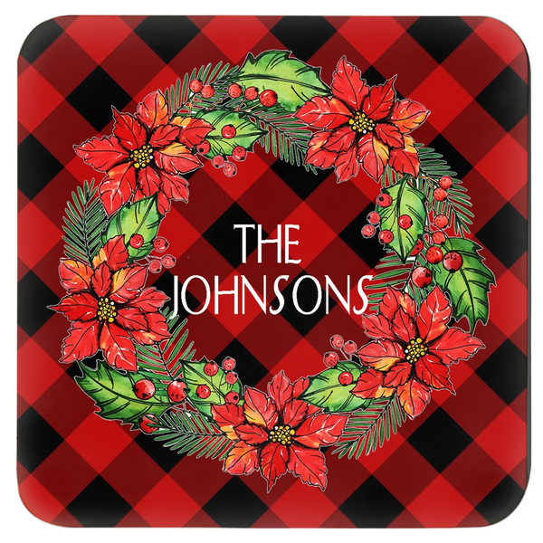 Poinsettia Wreath Coaster Set