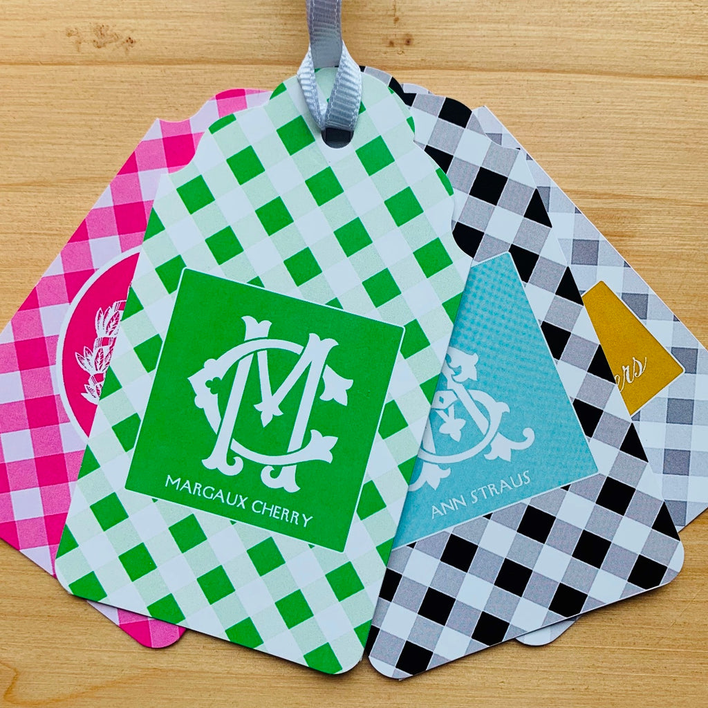 Gingham Monogram Gift Tags