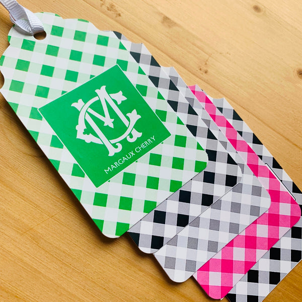 Gingham Monogram Gift Tags - Choose Colors