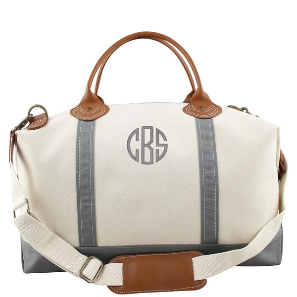 Gray Canvas Monogram Weekender Bag