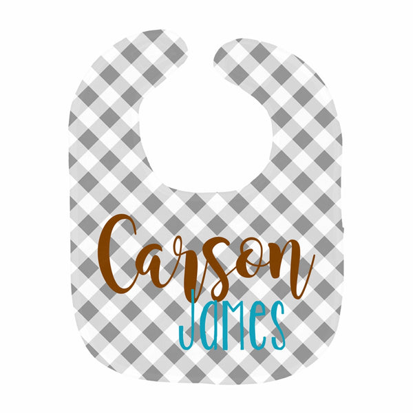 Gray Gingham Name Bib
