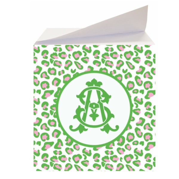Green & Pink Leopard Sticky Memo Note Cube