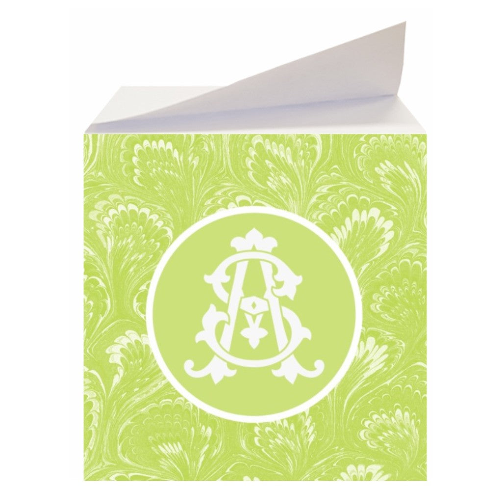Green Marbled Sticky Memo Note Cube