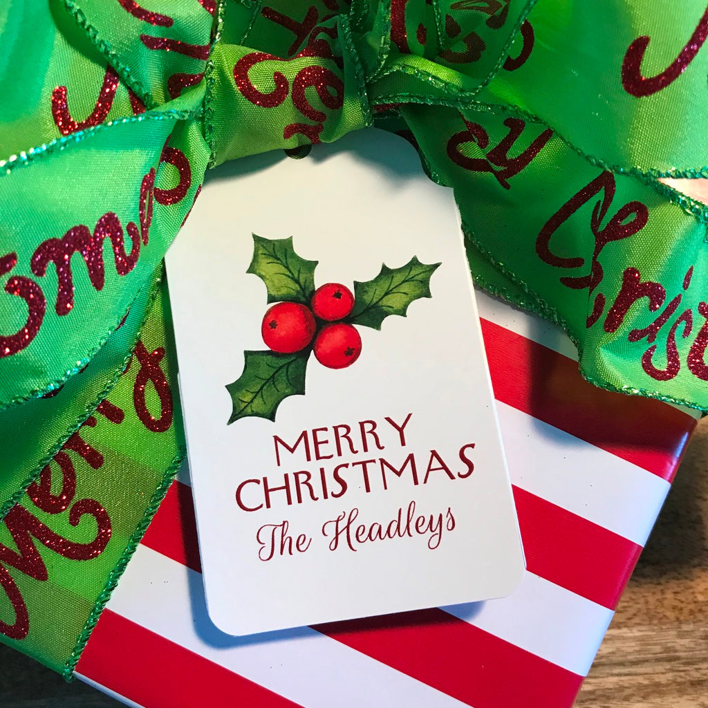 Holiday Holly Berries Gift Tags