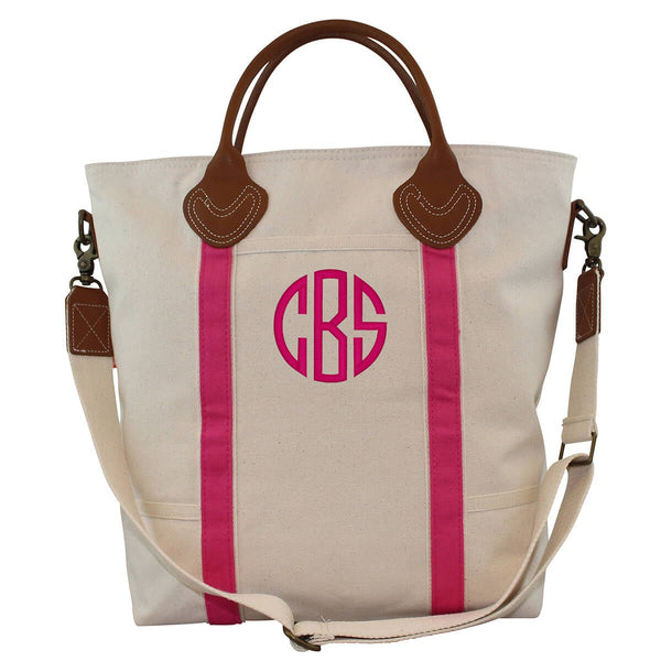 Hot Pink Canvas Monogram Shoulder Tote