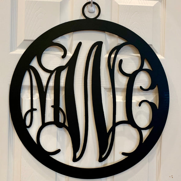 Bordered Script Metal Monogram