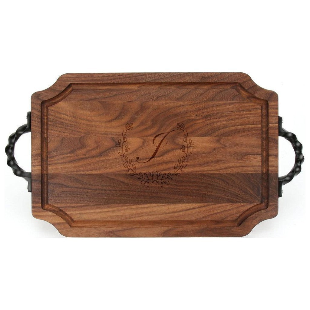 Large Scalloped Walnut Serving Board