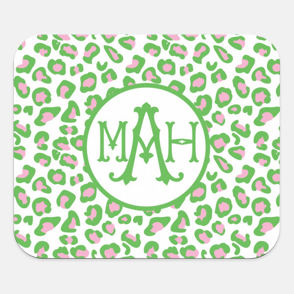 Green & Pink Leopard Mouse Pad