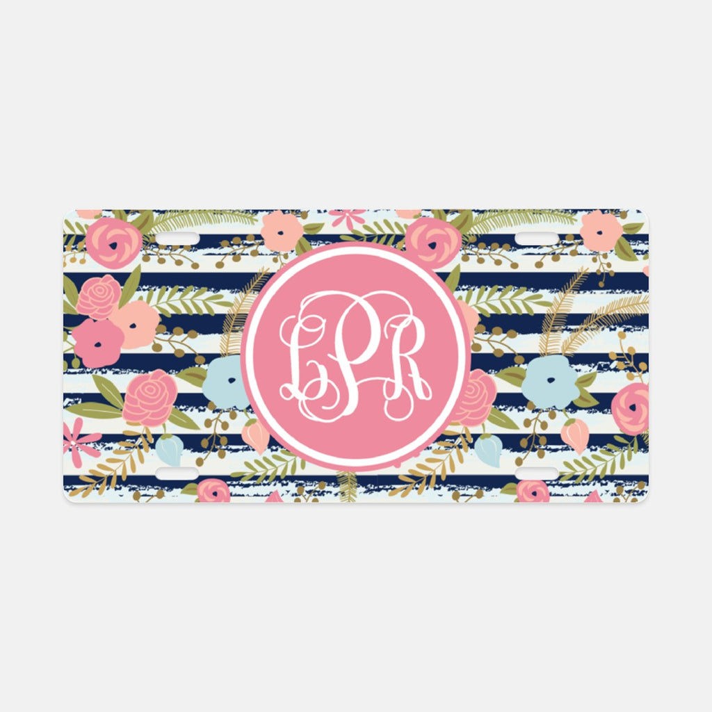 Floral Stripe License Plate