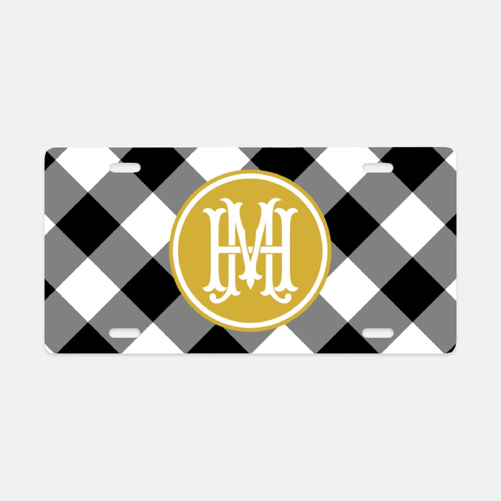 Gingham License Plate