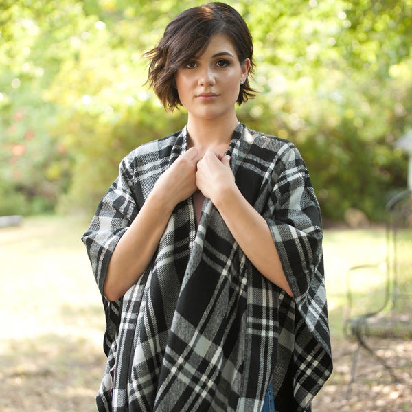 Black Plaid Shawl