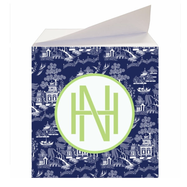 Custom Navy Chinoiserie Sticky Memo Note Cube