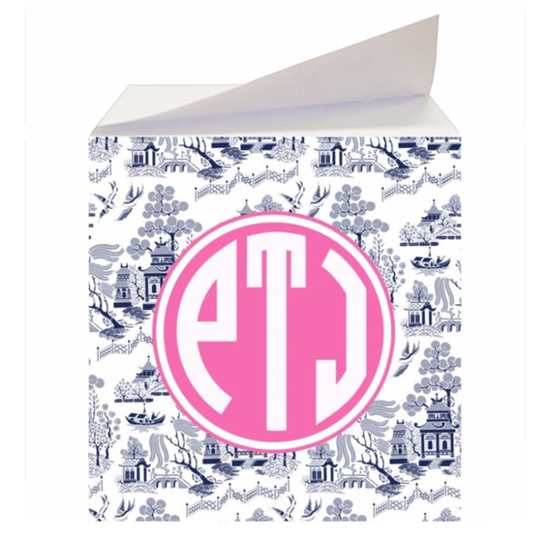 Custom Reverse Navy Chinoiserie Sticky Memo Note Cube