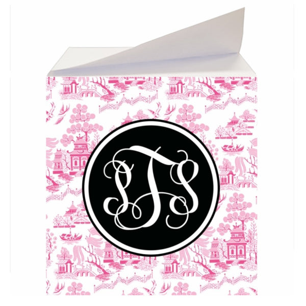 Custom Reverse Pink Chinoiserie Sticky Memo Note Cube