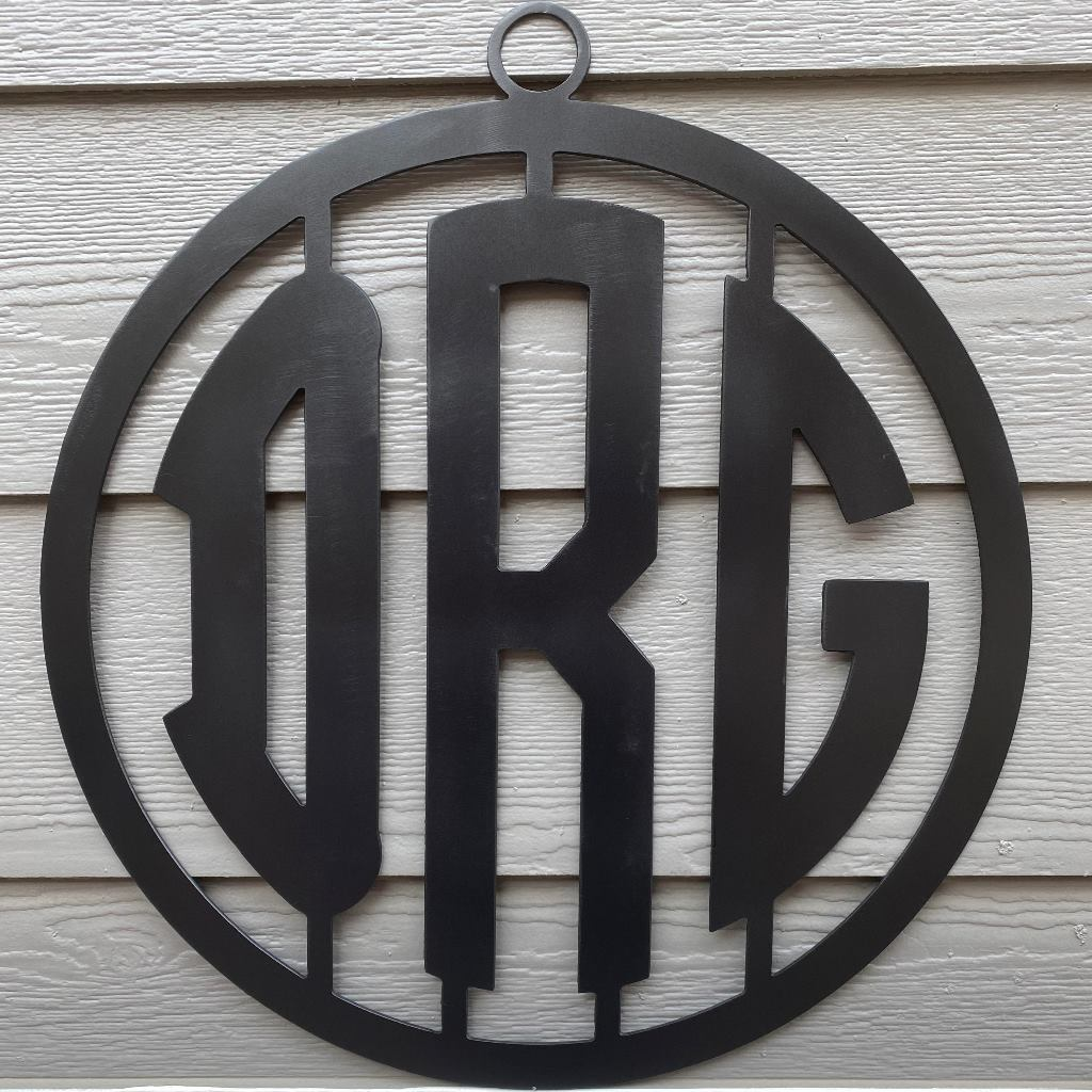 Bordered Block Metal Monogram